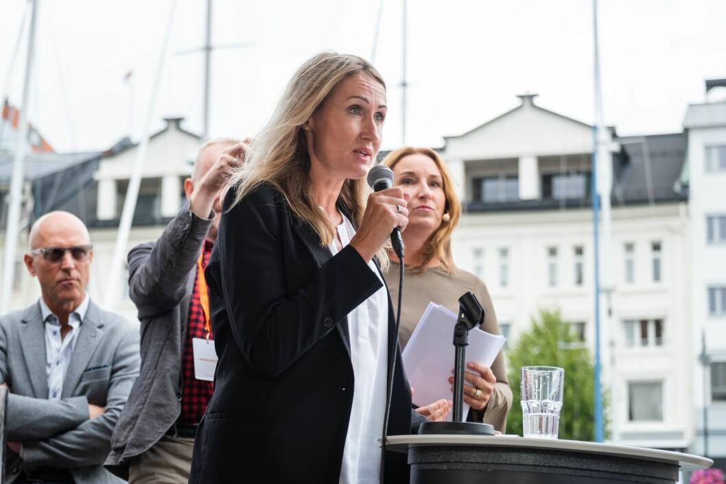 Kirsti Husby, sjefredaktør i Adresseavisen, under den store mediedebatten i Arendal.