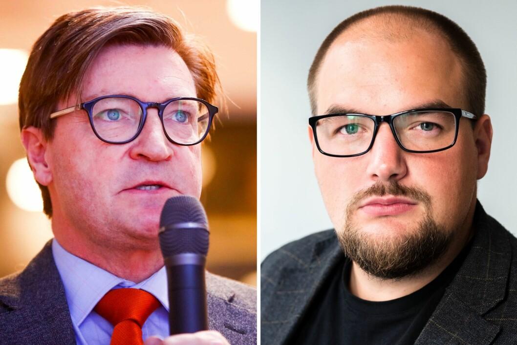 Frps Christian Tybring-Gjedde og redaktør Erik Waatland i Medier24.