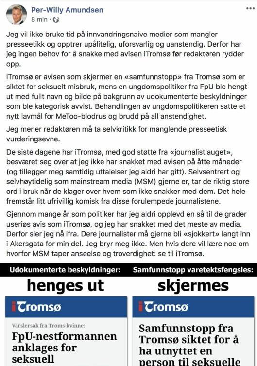 Skjermdump fra Per-Willy Amundsens Facebook