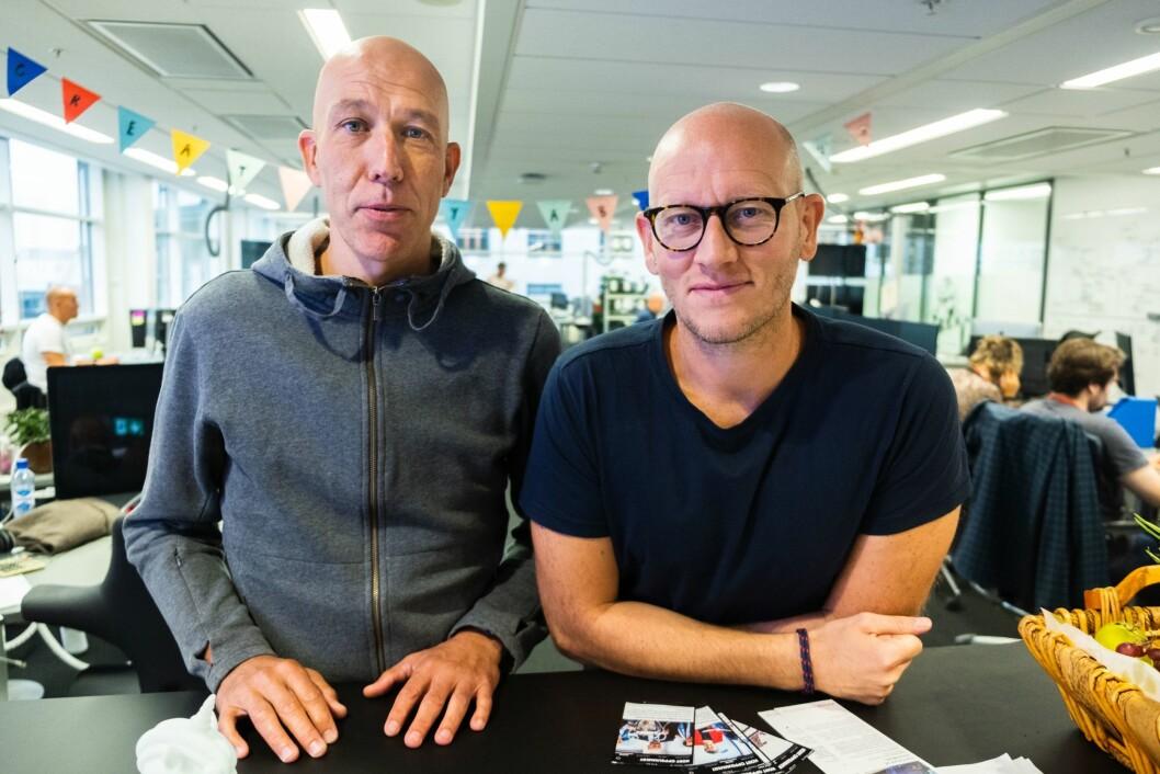 Produktsjef for Peil, Geir Larsen og utviklingsredaktør i VG, Ola Stenberg.