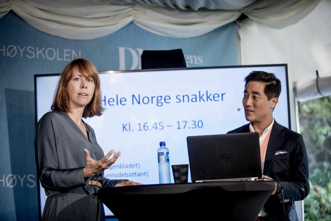 Lansering av Hele Norge snakker på Arendalsuka 2018. Anna B. Jenssen, Ansvarlig redaktør og adm. direktør, Morgenbladet og Fredrik Solvang, NRK.
