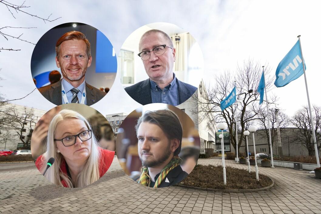 Mediepolitikerne reagerer på NRK-lønn. Fra venstre: Tage Pettersen (H), Åslaug Sem-Jacobsen (Sp), Geir Bekkevold (KrF) og Freddy Øvstegård (SV)