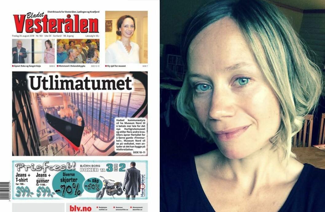 Dagens utgave av Bladet Vesterålen - og fungerende redaktør Inger Merete Elven.