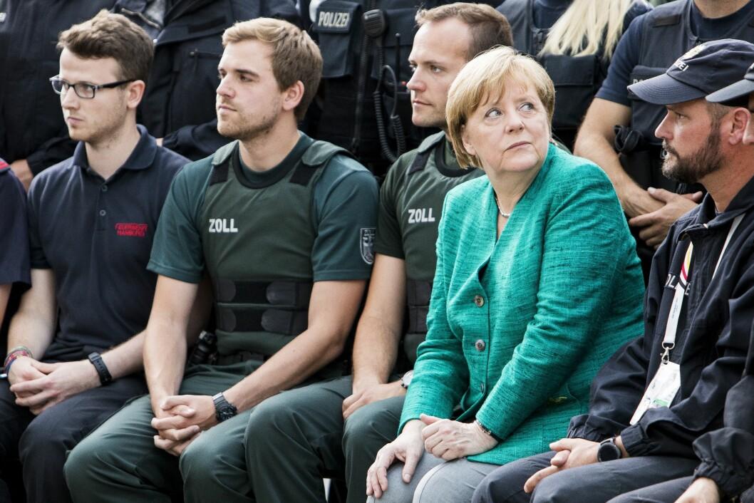 Tysklands forbundskansler Angela Merkel, her under et møte med tysk politi etter G20-toppmøtet tidligere i år. Foto: Tore Meek / NTB scanpix