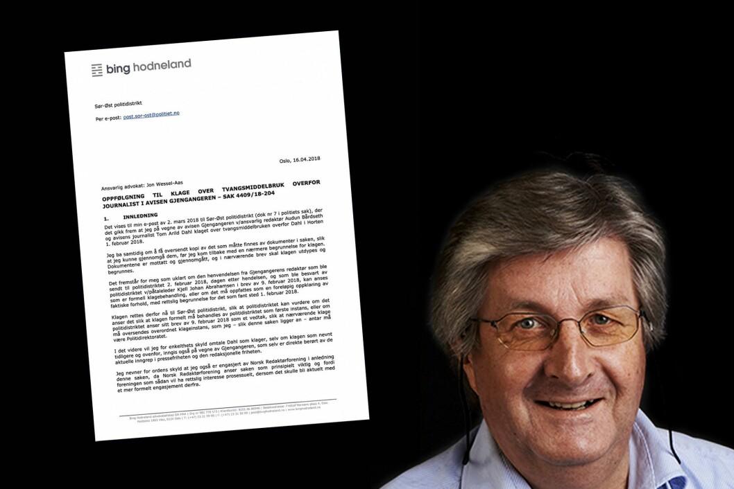Advokat Jon-Wessel Aas har på vegne av Gjengangeren og Norsk Redaktørforening sendt klage etter at Tom Arild Dahl fikk bilder slettet av politiet i februar i år.