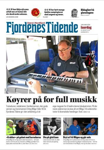 Faksimile av forsiden av Erling Waages helt egen utgave av Fjordenes Tidende.