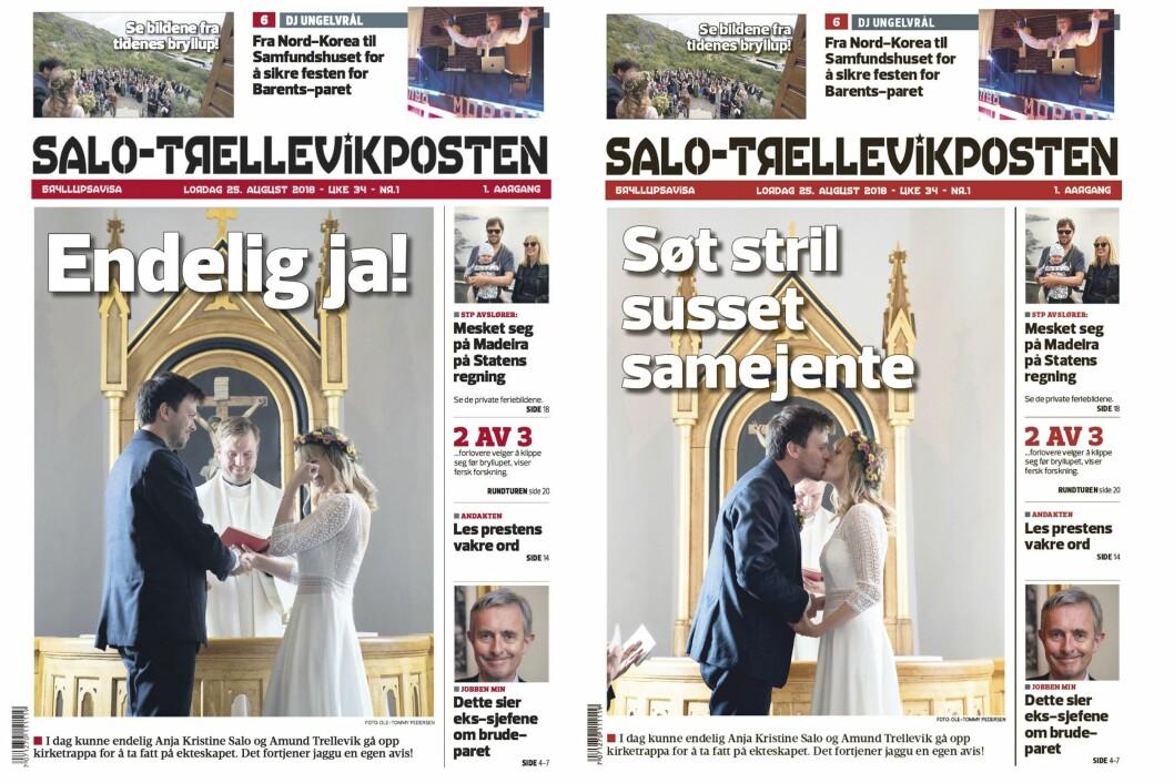 Ole-Tommy Pedersen vurderte to forskjellige forsider til bryllupsavisa. Den til venstre vant til slutt.