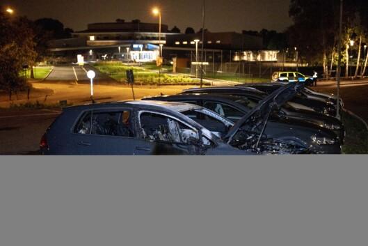 Utbrent bil i Västra Frölunda i Göteborg tidligere i sommer. Foto: Oscar Magnusson/TT / NTB Scanpix