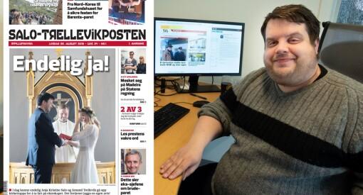 Redaktøren stakk fra bryllupet til Amund Trellevik og Anja Kristine Salo. Kom tilbake med en fersk papiravis til desserten