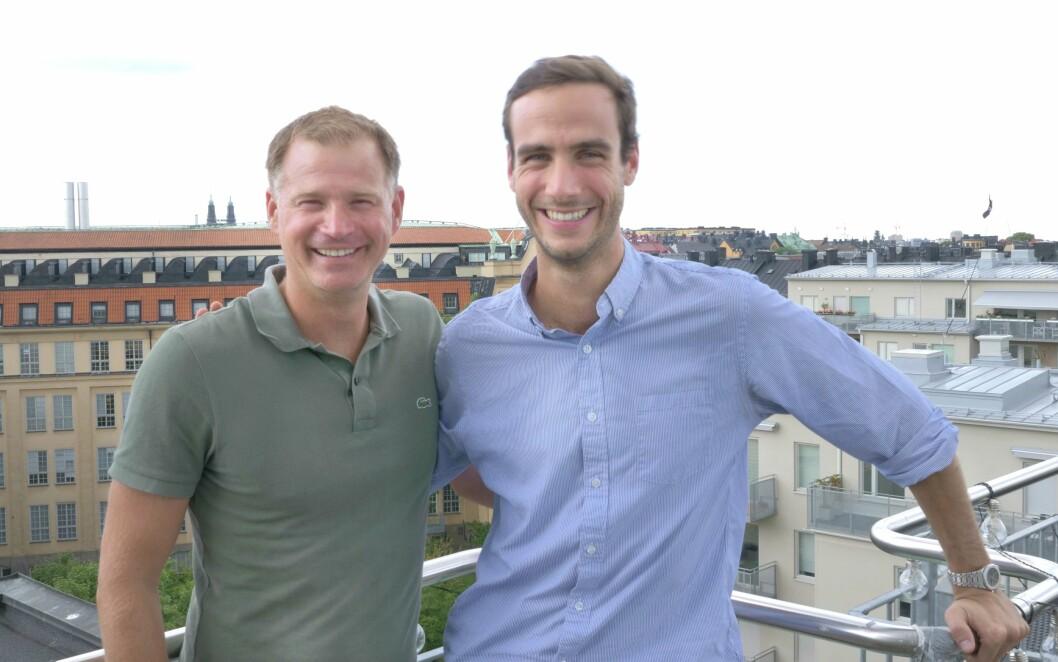 Administrerende dirktør i Mynewsdesk, Mattias Malmström (t.v) Her sammen med administrerende direktør i Mention, Matthieu Vaxelaire
