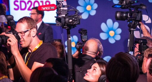 VG, TV2, NRK, NTB, Radio Norge og Aftenposten på SDs valgvake: – Mer imøtekommende mot journalister