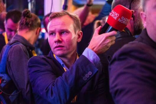 Kjetil Kjær Andersland i Radio Norge på Sverigedemokratarnas valgvake søndag.