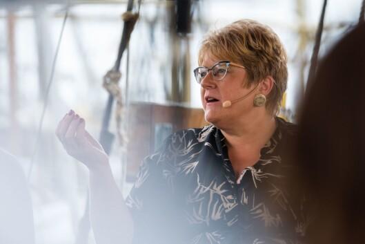 Kulturminister Trine Skei Grande (V) i mediedebatt i Arendal.