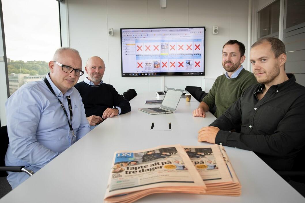 Dagens Næringsliv endrer totalt måten de brekker avis på - med ny teknologi fra Aptoma. Fra venstre: Hovedredigerer Espen Moe i DN, produksjonsredaktør Bjarne D. Erichsen i DN, Geir Berset i Aptoma og Peter Rudolfsen i Aptoma.