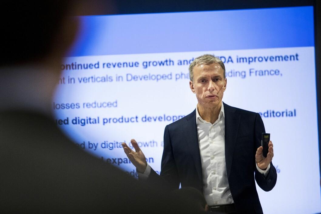 Rolv Erik Ryssdal, her fra han var administrerende direktør  i Schibsted og presenterte tallene for siste kvartal i 2017. Foto: Tore Meek / NTB scanpix