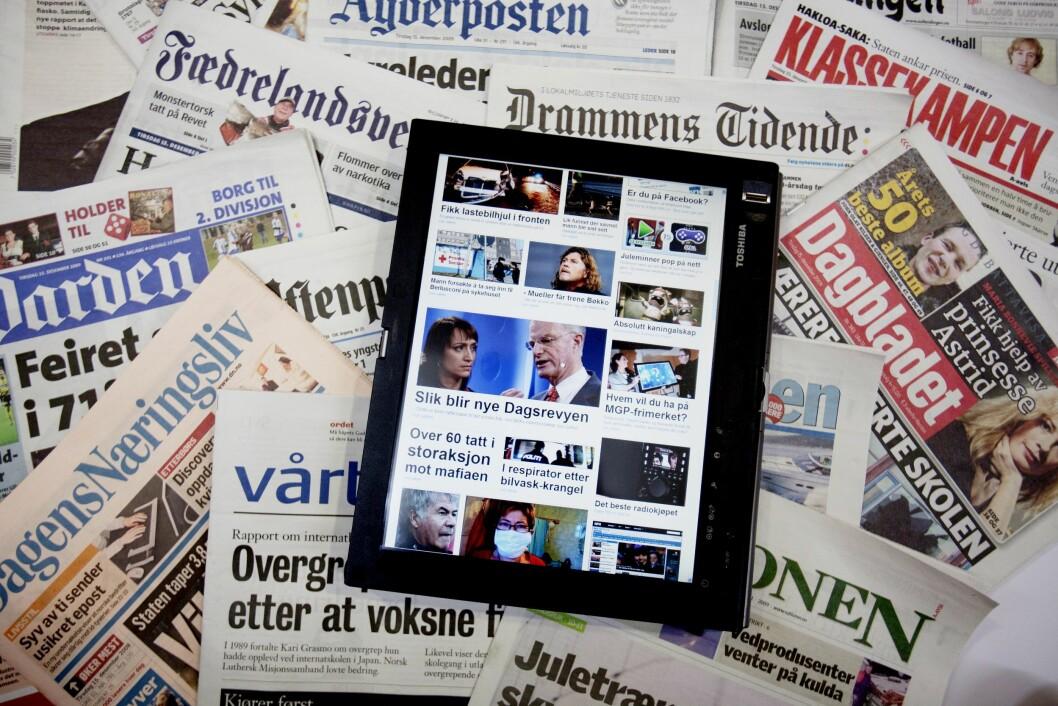Illustrasjon av norske aviser.