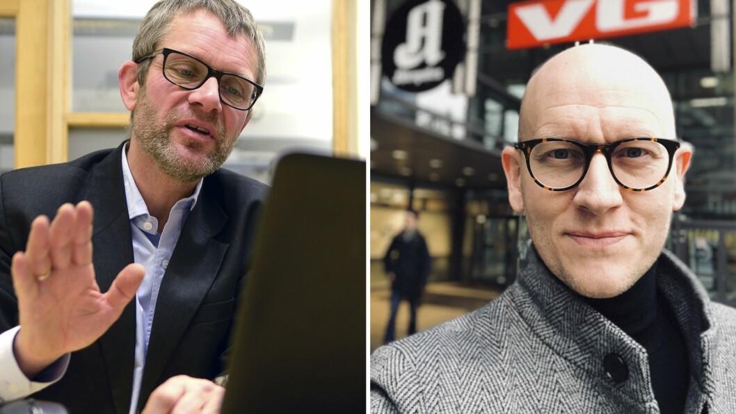 Geir E. Engen i Mediebedriftenes Landsforbund  og Ole Stenberg, utviklingsredaktør i VG
