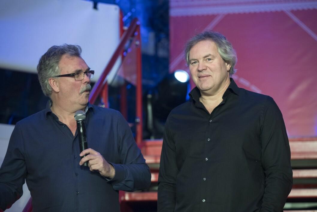 TV 2s kommentatorpar Harald Bredeli (tv) og Bent Svele. Arkivfoto