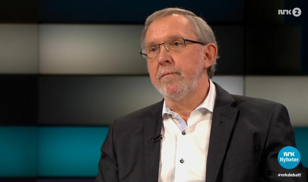 Avtroppende redaktør Harald Stanghelle i Aftenposten er også styreleder i Norsk Redaktørforening. Her fra TV-intervju med Ole Torp.