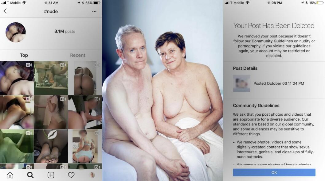BLE SLETTET: Bildet i midten ble slettet av Instagram. Klaudia Lech reagerer på at det skjer, samtidig som bilder som de til venstre får lov til å være på tjenesten.