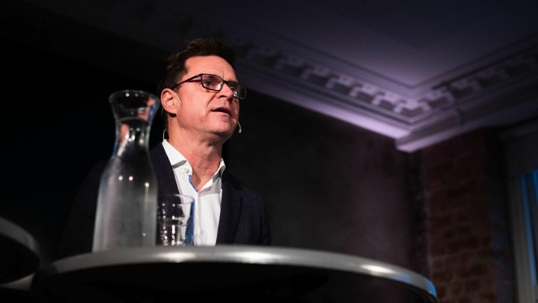 Espen Egil Hansen under hans innledning til debatten på Mesh.