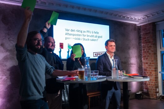 Harald Klungtveit, Erik Waatland, Anne Weider Aasen og Espen Egil Hansen under debatten torsdag kveld.