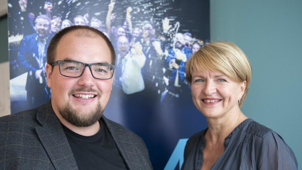 Redaktør og daglig leder Erik Waatland og styreleder Nina Refseth i Medier24.