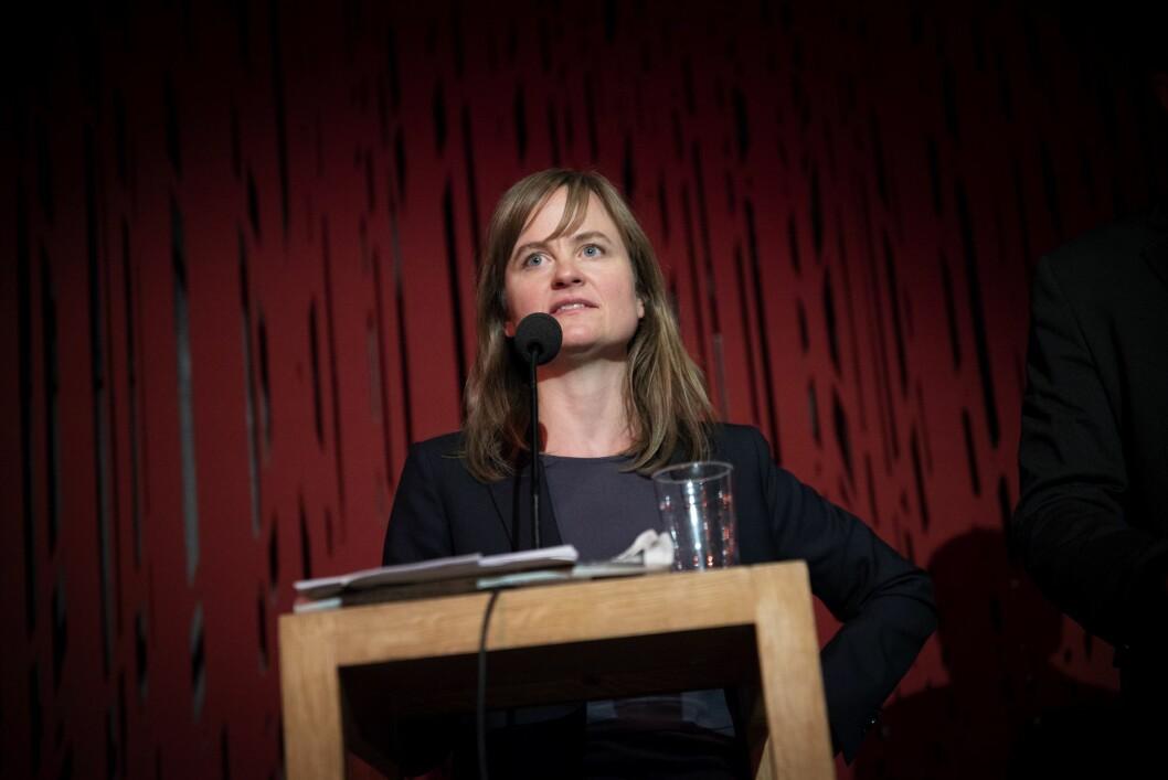 Sjefredaktør Mari Skurdal i Klassekampen. Her fra debatt om «no platforming» 17. oktober 2018.