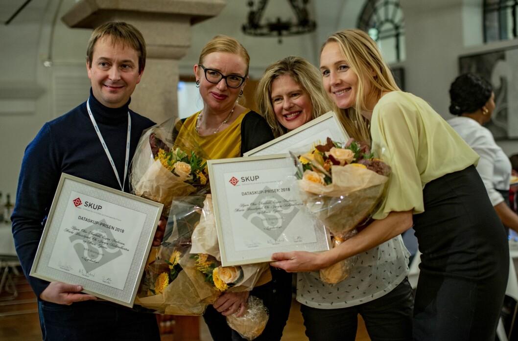 NRK-journalistene som sto bak Brennpunkt-dokumentaren «Legekoden» da de vant Data-SKUP-prisen.