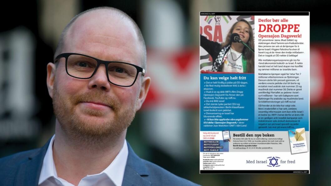 Gard Steiro, VG-redaktør og skjermdump av annonsen.