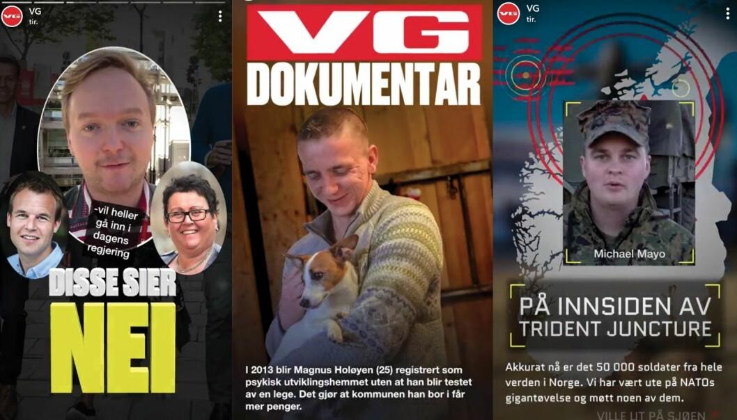 Eksempler på hvordan Snap-redaksjonen dekket KrF-dramaet, Tolga-saken og Trident Juncture.