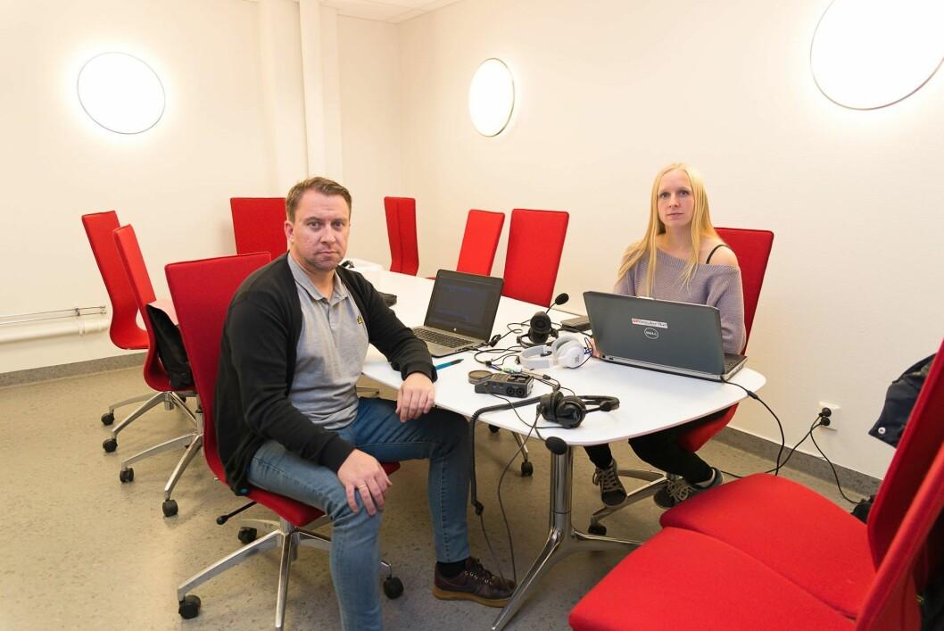 Jan Morten Frengstad og Jeanette Håland under podkast-innspillingen.