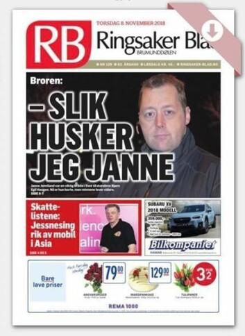 Gårsdagens forside av Ringsaker blad.