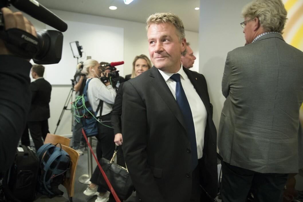 Tidligere justis- og beredskapsminister Per-Willy Amundsen  (Frp) fotografert under åpen høring i Stortingets kontroll-og konstitusjonskomite tidligere i høst.