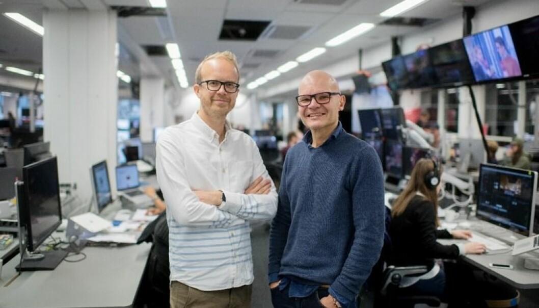 VGTV-redaktør Rolf Sønstelie( t.h.) og administrerende direktør i VGTV, Thomas Manus Hønningstad.