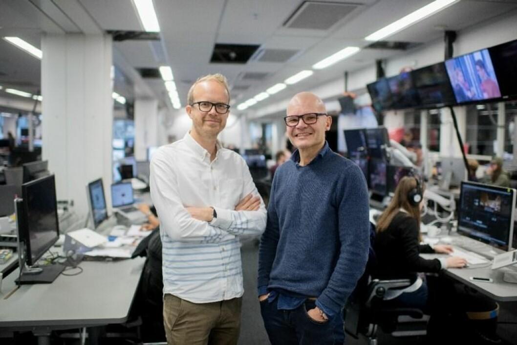 Rolf Sønstelie(t.h.) er ny redaktør og Thomas Manus Hønningstad ny administrerende direktør i VGTV.