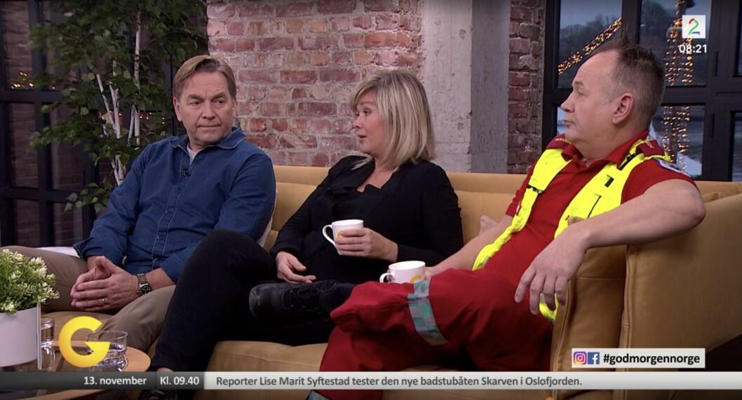 Trond Idås, Eli Strand og paramedic Espen Østhaug gjester God Morgen Norge på TV 2 tirsdag morgen.
