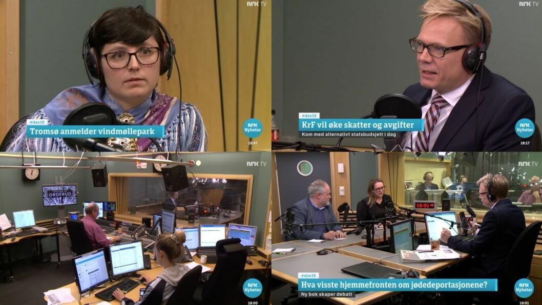 Skjermgrabb frå NRK si Dasgsnytt 18-sending fredag 9. november. I biletet: Risten Turi Aleksandersen, programleiar Espen Aas, og nedst til høgre debattantene Marte Michelet og Bjarte Bruland.