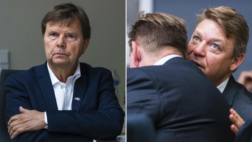 P4-sjef Kenneth Andresen (t.h.) kommer med spark til Svein Larsen (t.v.) i Radio Metro. Bildene er tatt under kulturminister Trine Skei Grandes rundbordskonferanse om DAB tidligere i høst.