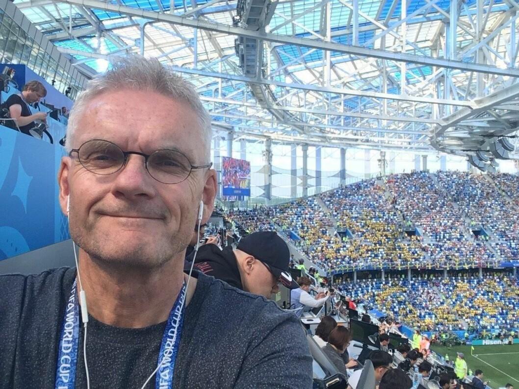 Reidar Sollie, sportsjournalist i Dagsavisen og leiar i Norske Sportsjournalisters Forbund. Her under fotball-VM i Russland, sommaren 2018.