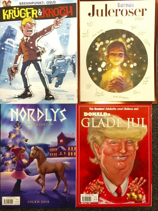 Årets fire nykommere fra Egmont, som er størst på julehefter: Her er Krüger & Krogh, Barnas juleroser med Herborg Kråkevik som redaktør, julehefteutgave av populære Nordlys - og altså Donalds glade jul, om han med etternavnet Trump og ikke Duck.