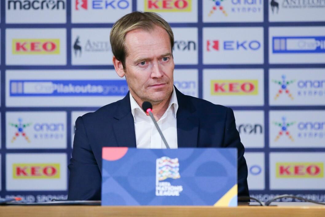 Medieansvarlig Svein Graff på pressekonferansen etter Nations League-kampen i fotball mellom Kypros og Norge på GSP Stadion i Nikosia.
