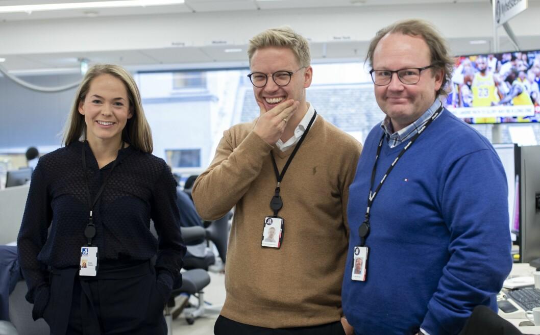 Susanne Klungtveit, Eirik Winsnes og frontsjef i Aftenposten, Klaus Børringbo.