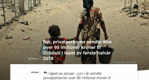 Faktisk helt feil, HRS: Det stemmer ikke at privatpersoner sendte over 95 millioner kroner til Djibouti