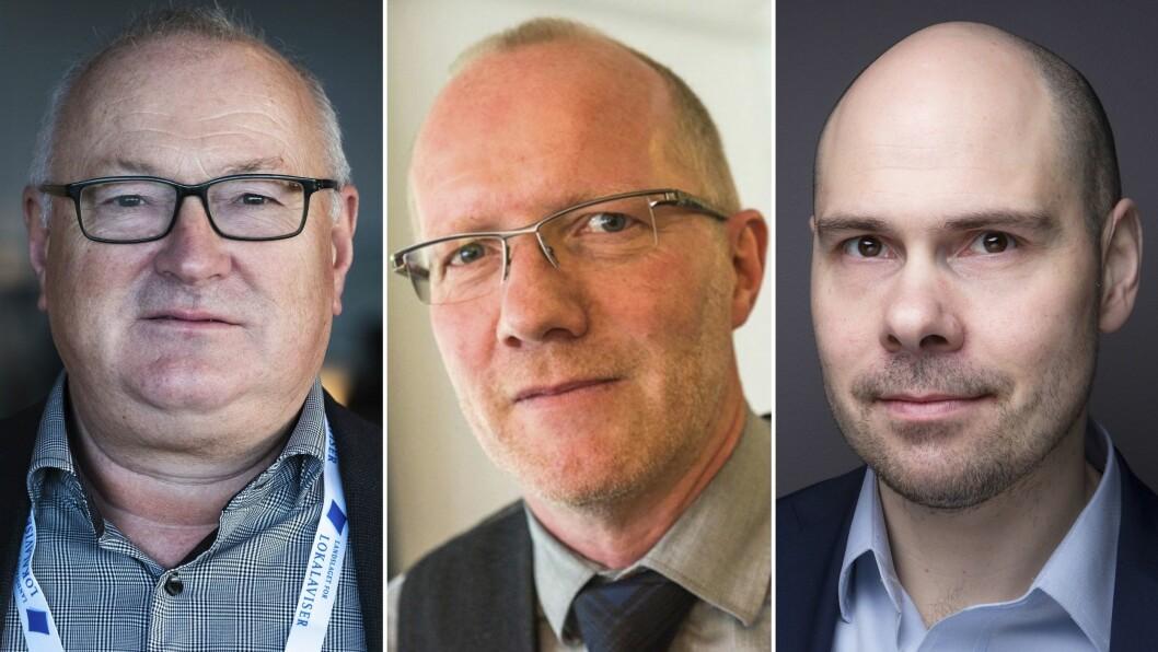 Rune Hetland (LLA), Arne Jensen (Nored) og Anders Opdahl (Amedia).