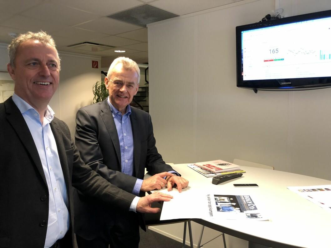 Konsernsjef Are Stokstad i Amedia og styreleder Ivar Rusdal i Nordsjø Media.