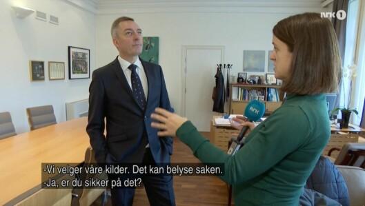 Skjermdump fra NRKs intervju med Frank Bakke Jensen.