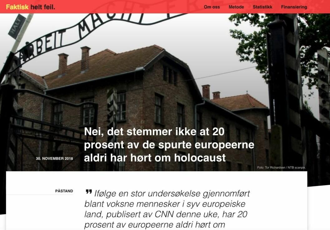 Nei, det stemmer ikke at 20 prosent av de spurte europeerne aldri har hørt om holocaust.