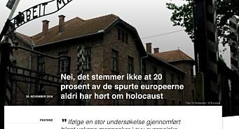 Nei, VG. Det stemmer ikke at 20 prosent av de spurte europeerne aldri har hørt om holocaust