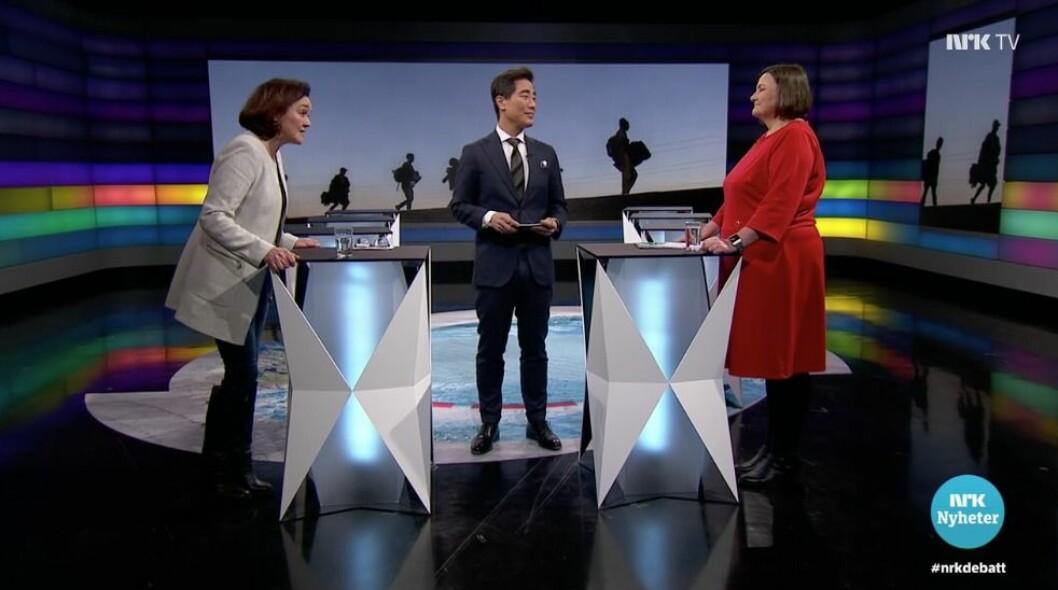 Debatten på NRK, hvor Rita Karlsen fra HRS møtte Henriette Westhrin fra Norsk Folkehjelp.